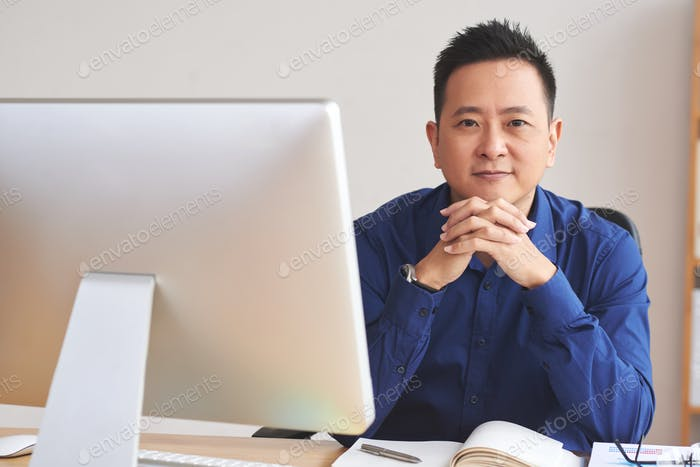 Businessman at table