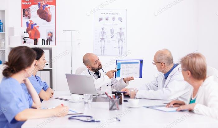 Medical expert talking during seminar