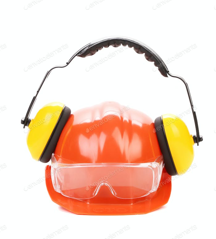 Orange safety helmet and protection headphones.