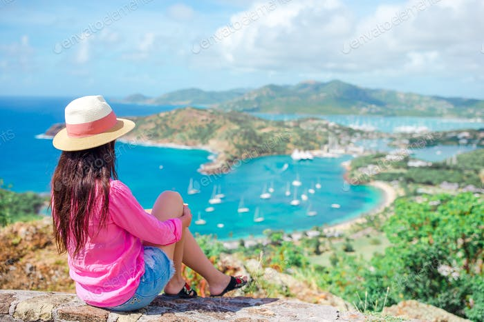 View of English Harbor from Shirley Heights, Antigua, paradise bay at tropical island in the