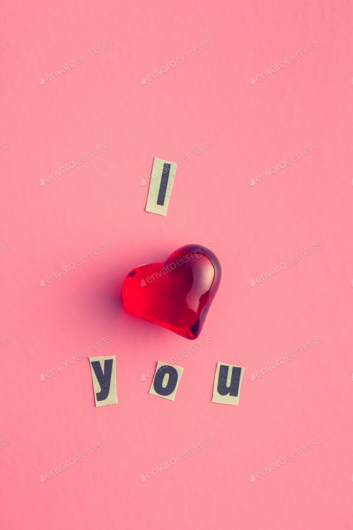 I love you. Inscription with heart.