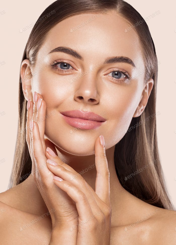 Female beautiful face eyes and smile spa concept
