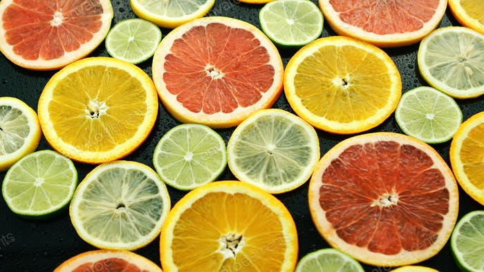 Assortment of sliced citruses