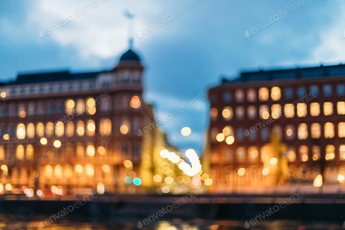 Helsinki, Finland. Abstract Blurred Bokeh Boke Background Of Cro