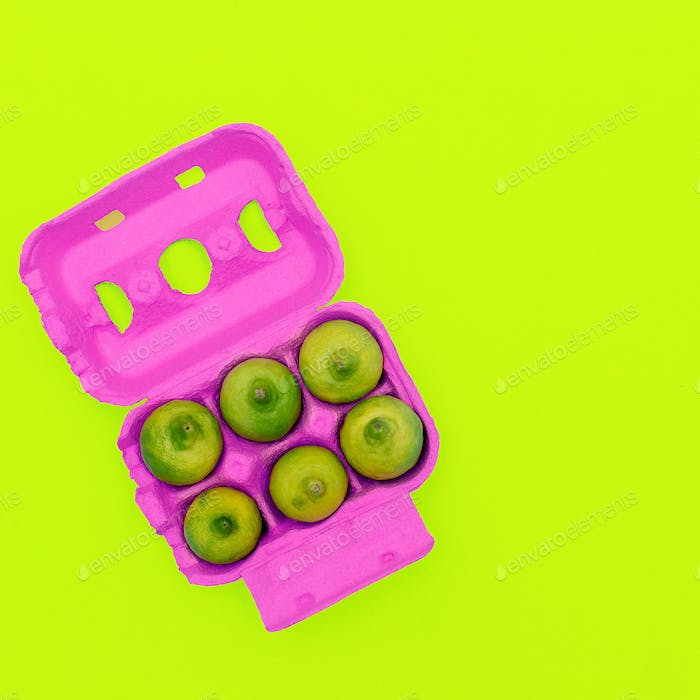 Egg container with limes Minimal design art. Creative Idea