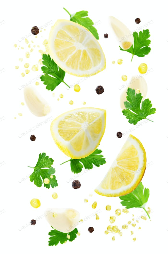 Flying lemons with parsley, garlic and oil spray