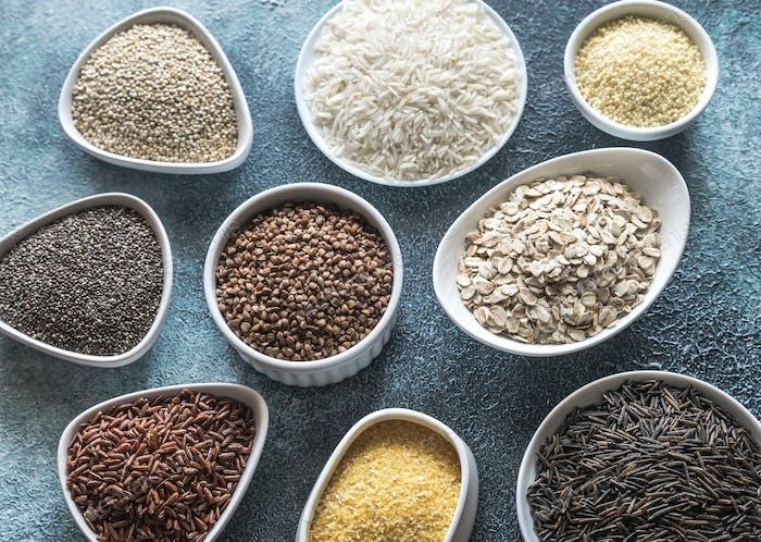 Assortment of gluten free grains