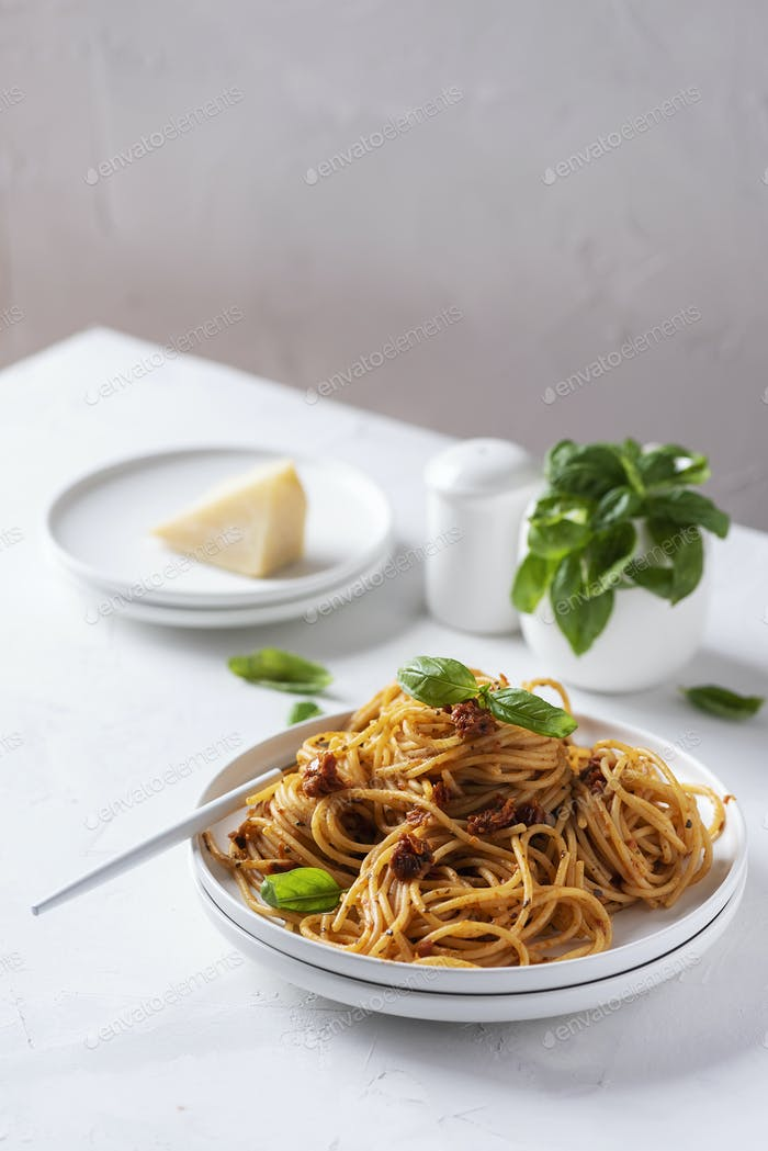 Italian pasta with dried tomatoes