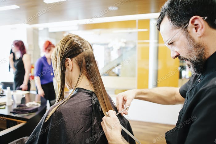 A hair stylist with a client, cutting her long straight hair.
