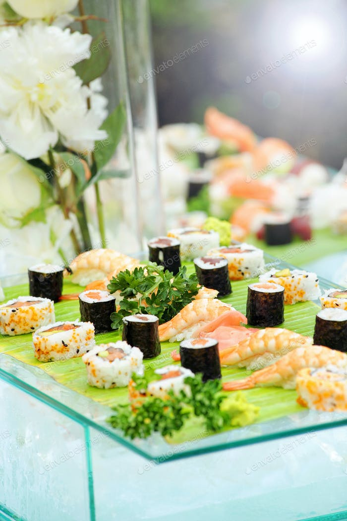 Display of assorted types of fresh sushi