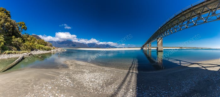 New Zealand's longest one-lane bridge over Haast River, South We