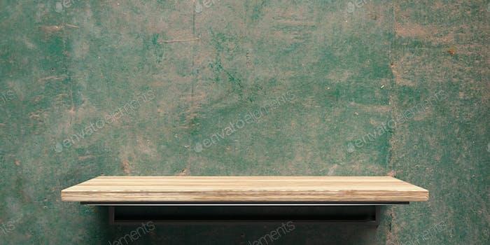 Leeres Holzregal auf grünem Wandhintergrund. Perspektivische Ansicht. 3D Illustration