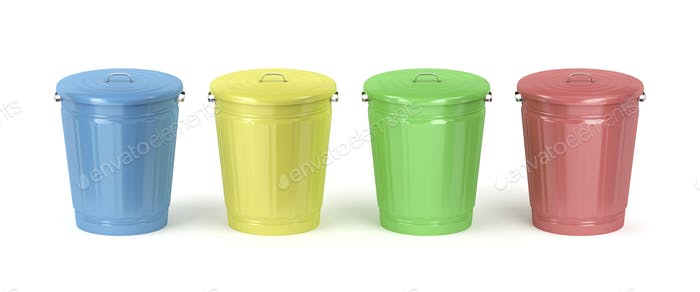 Metal trash cans with different colors