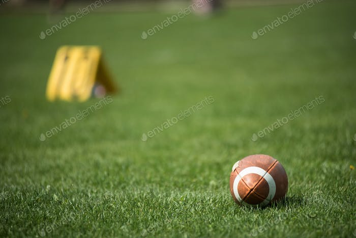 American football ball and green grass field