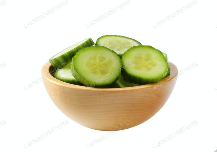 bowl of sliced cucumber
