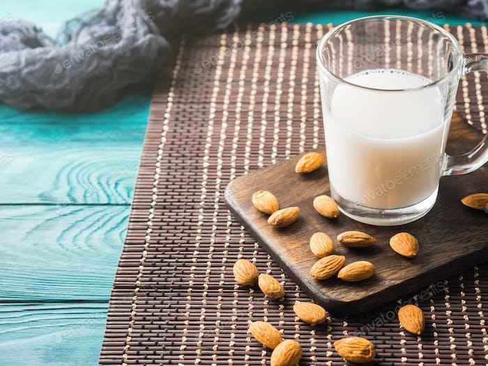 Vegan plant almond milk in a glass mug