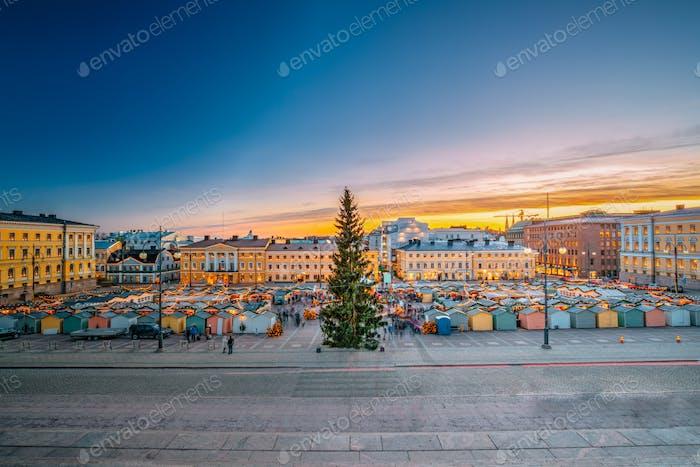 Helsinki, Finland. Christmas Xmas Market With Christmas Tree On
