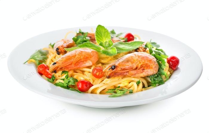 Spaghetti with prawns isolated on white