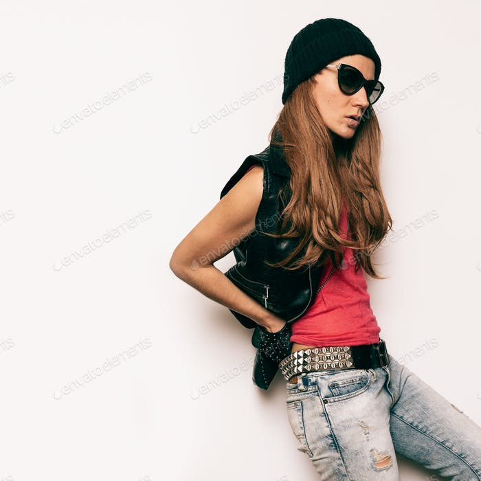 Stylish Model Rock Urban fashion accessories and jeans