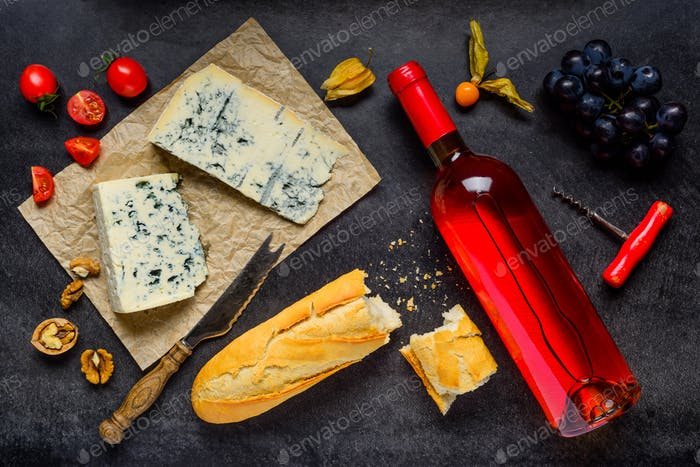 Cheese and Wine with Fruits Food