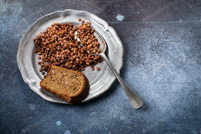 Lentils on plate