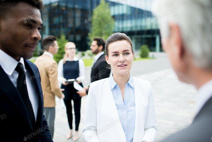 Delegates talking