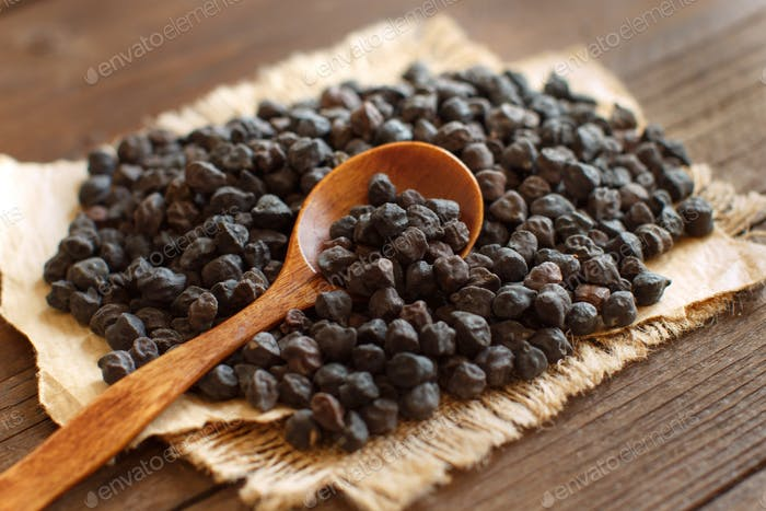Black Chickpea with a spoon