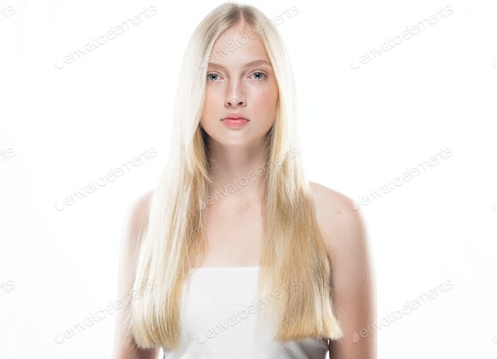 Healthy beauty hair and skin young blond woman portrait