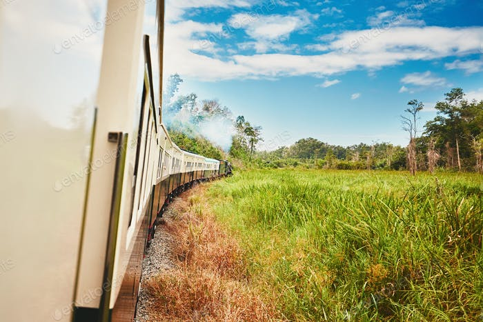 Traveling by steam train