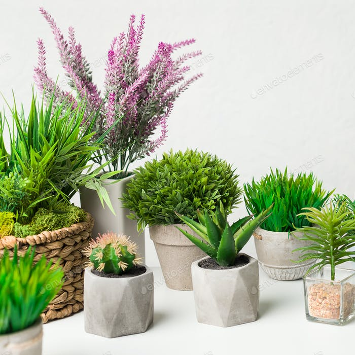 Artificial houseplants in different pots over white wall