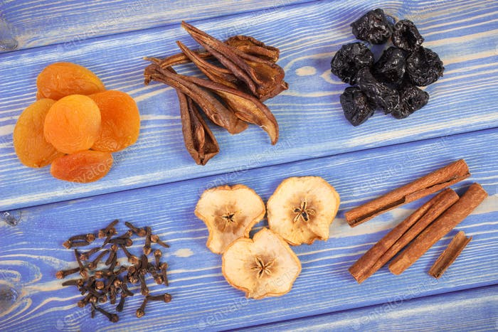 Ingredients and spices for preparing compote of dried fruits