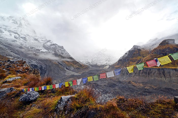 Prayer flags in the Annapurna Base Camp, Nepal