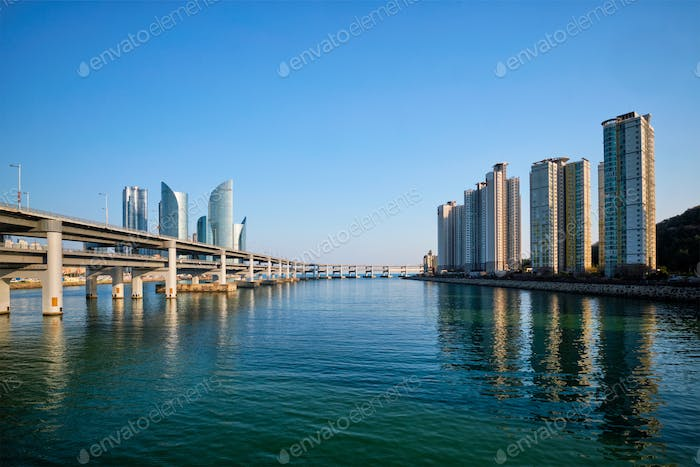 Busan skyscrapers and Gwangan Bridge, South Korea