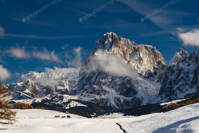 Amazing winter landscape with snow at Alpe di Siusi, Dolomites,Italy