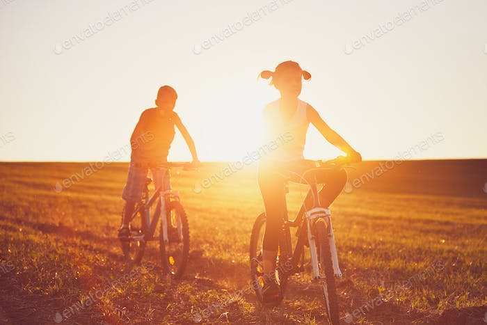 Bike ride at the sunset