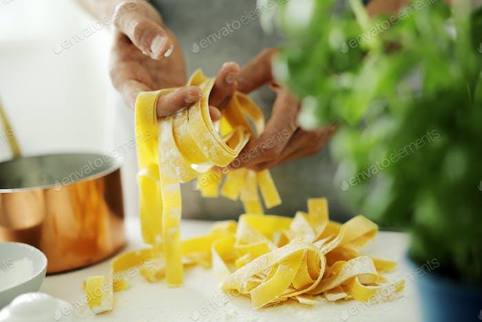 Pasta chef makes fresh italian pasta