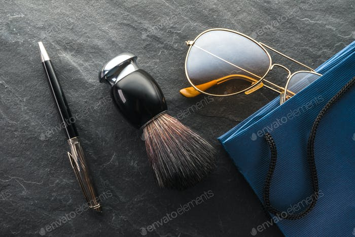 Black Friday, sale, gifts glasses, shaving brush and pen