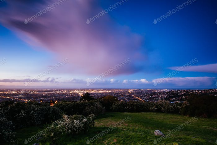 Cashmere Hill Lookout at Sunset in Christchurch