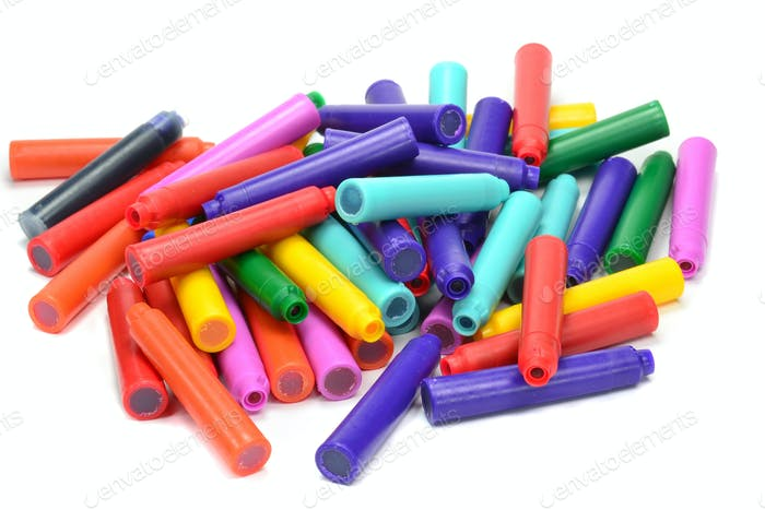 Pile of Pen Refill Ink Cartridges