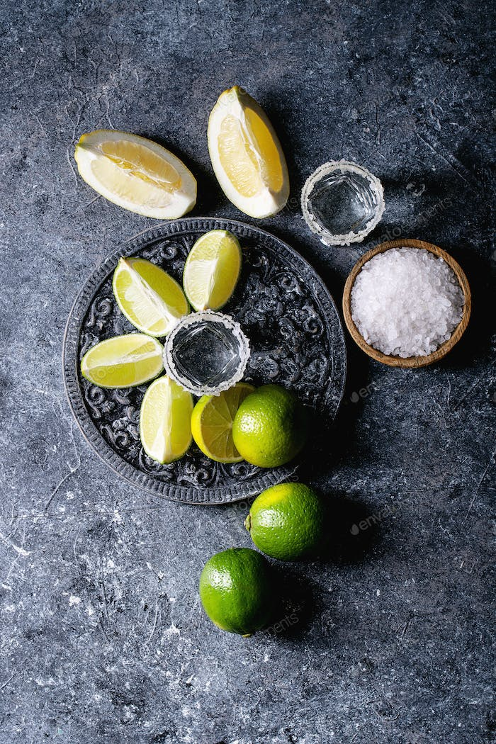 Tequila with salt and limes