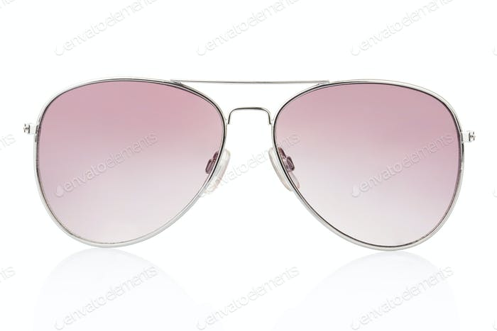 Aviator sunglasses on white