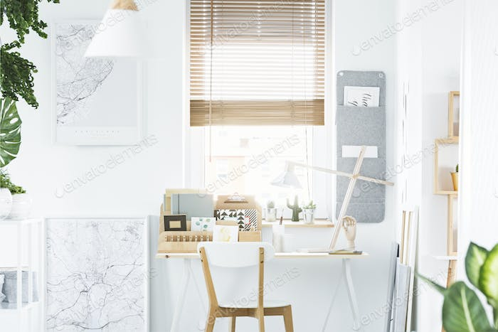 Home office interior with window