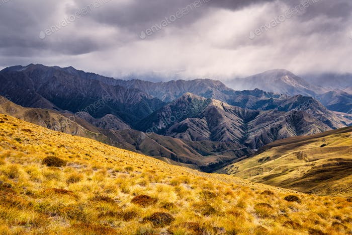Mountain range near Queenstown, New Zealand