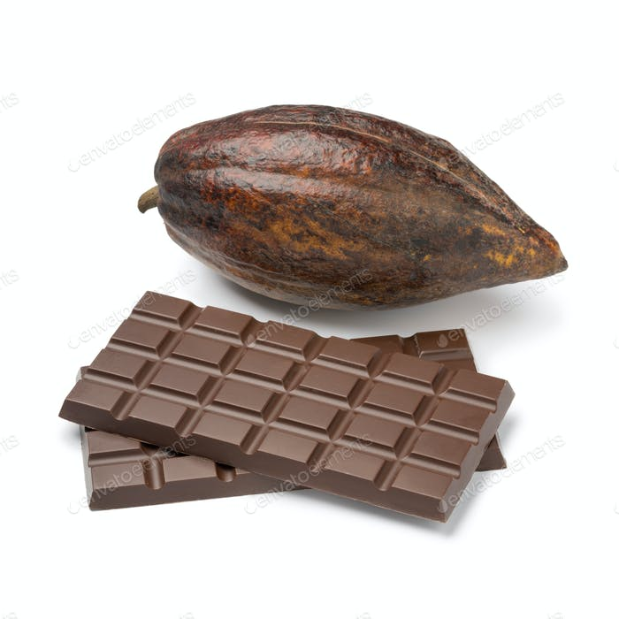 Raw whole cocoa fruit and pieces of chocolate