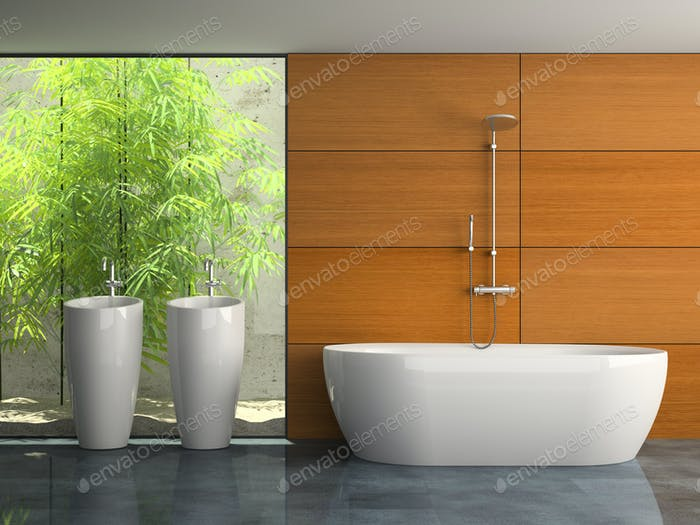 Interior of the bathroom with plants 3D rendering