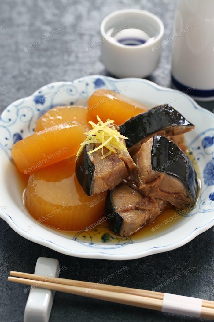 Buri Daikon, Simmered yellowtail fish with japanese radish, popular Japanese dish in the winter.