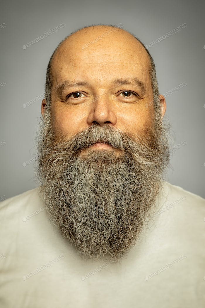 senior man with a gray long beard