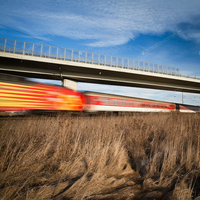 Fast train passing under a bridge on a lovely summer day (motion