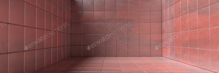Empty room, floor and walls tiled pattern, Metal red color background texture. 3d illustration
