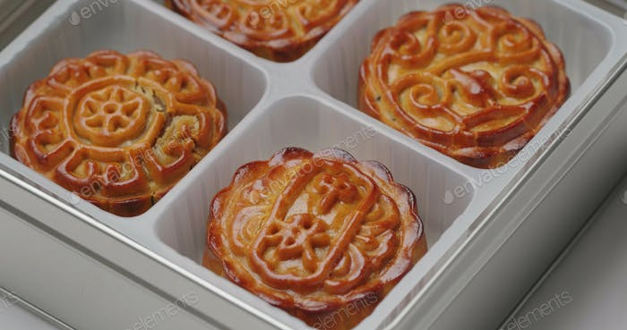 Traditional Chinese moon cake in box for mid autumn festival